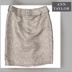 NWT Ann Taylor Ivory Gold Brocade Skirt Size PO
